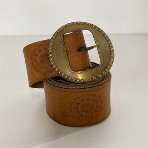 Vintage Boho Mandala Embossed Genuine Leather Belt with Round Brass Buckle